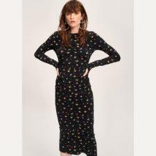 Falda-midi-negra-estampado-multicolor essentiel