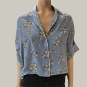 camisa azul flores sessun